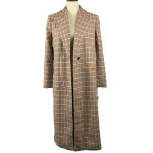 Something Navy Plaid Single Breasted Wool Coat
